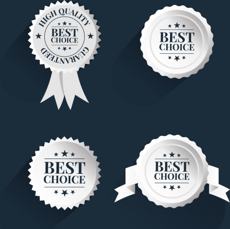 best choice badge templates white circles isolation