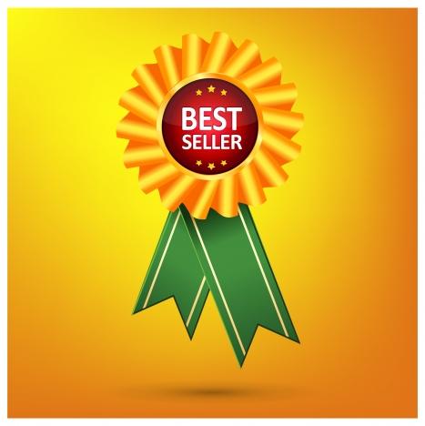 best seller vector design with gold medal illustration