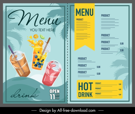 beverage menu template dynamic colorful handdrawn sketch
