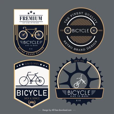 bicycle label templates elegant dark flat decor