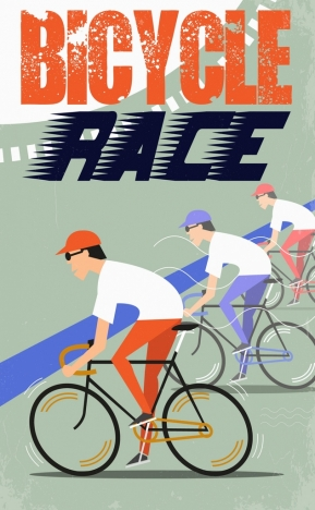 bicycle race banner cyclist icons colored retro design