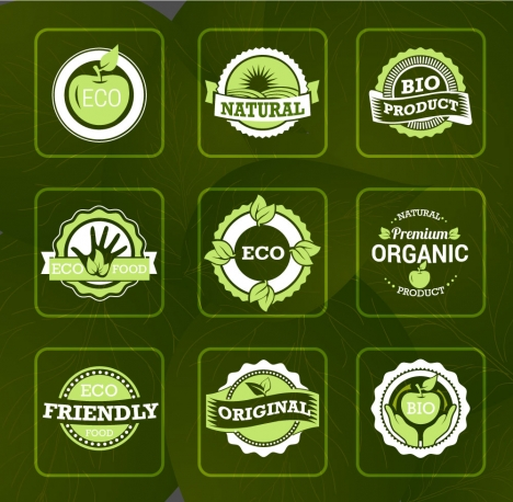 bio labels sets illustration on vignette green background