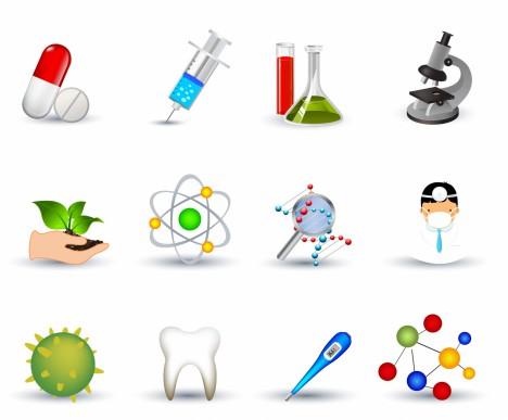 Biotechnology & Medicine Icon Set   Elegant Series