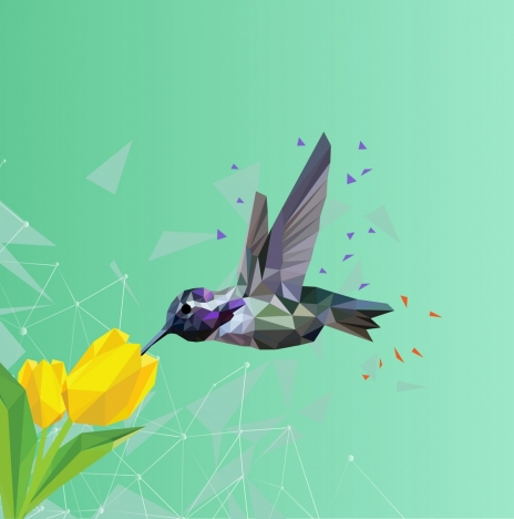 bird and flower background colored polygon decoration