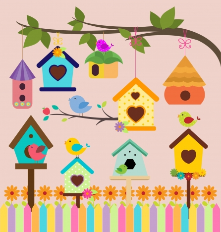 bird houses decoration background with colorful style