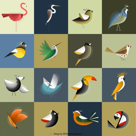 bird icons collection colorful classical design squares isolation
