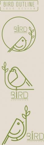 bird logo sets flat handdrawn sketch