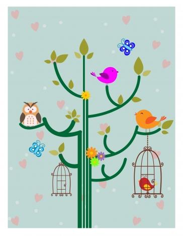 birds backdrop design with cute cartoon style