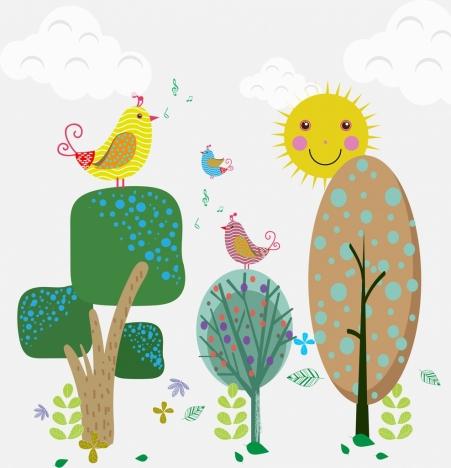 birds singing on tree theme cartoon design style