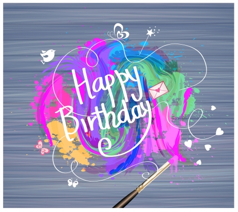 birthday card design with watercolor illustration