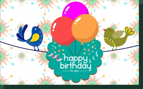 birthday card template colorful birds and balloons decoration