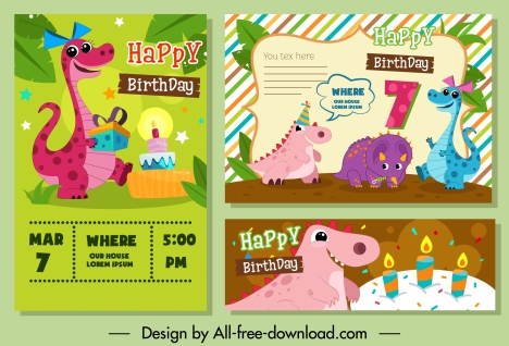 Birthday Card Templates Cute Stylized Dinosaurs Icons Decor Vectors Stock In Format For Free Download 3 97mb