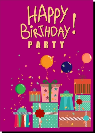 birthday party banner colorful balloon present box icons