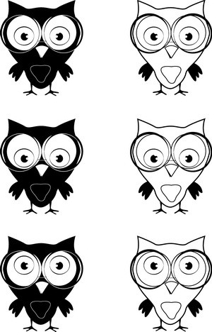 black and white owl with glasses