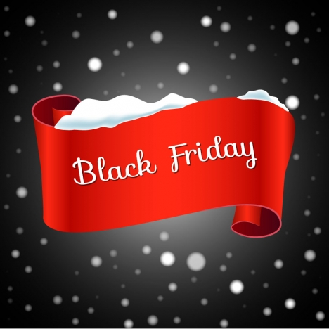 black friday design with ribbon on snow background