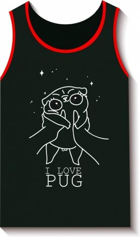 black tshirt design cute handdrawn pig decoration