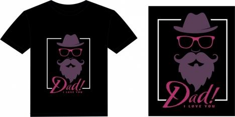 black tshirt template stylish old dad icon