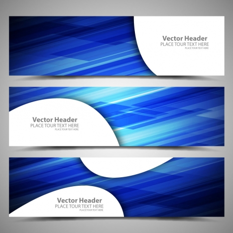 blue abstract background vector header sets