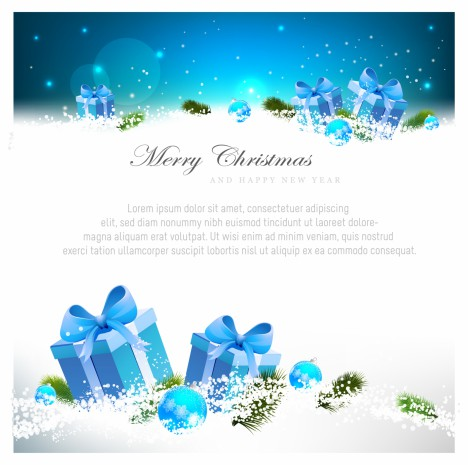 Blue Christmas greeting card with gift boxes
