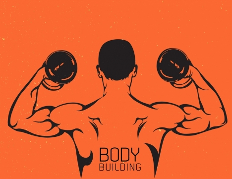 body building background muscle man icon classical decor