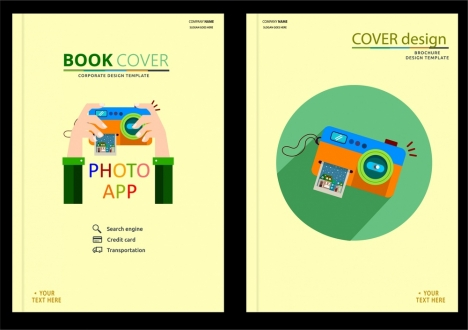 book cover design photo application icons style