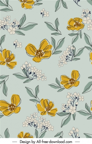 botanical pattern template retro handdrawn design
