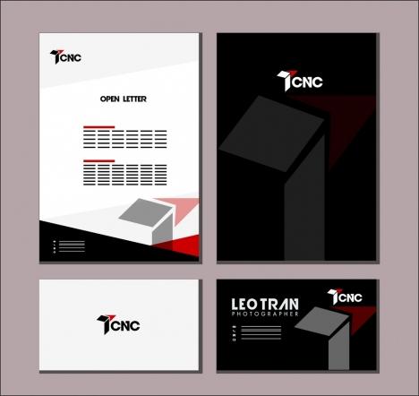 branding identity sets 3d dark bright design style