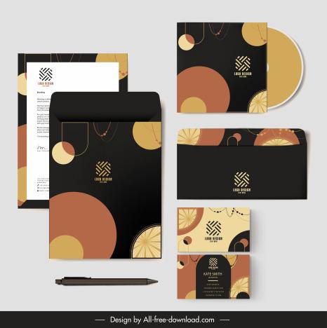branding identity sets dark classical flat geometric shapes
