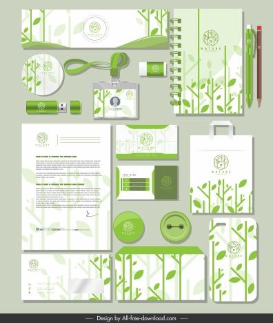 branding identity sets green leaves decor flat blurred