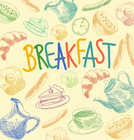 breakfast background handdrawn decor various multicolored icons
