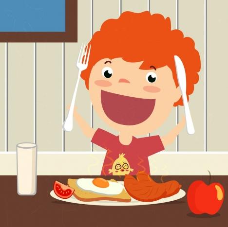 breakfast theme enjoying kid icon colored cartoon design