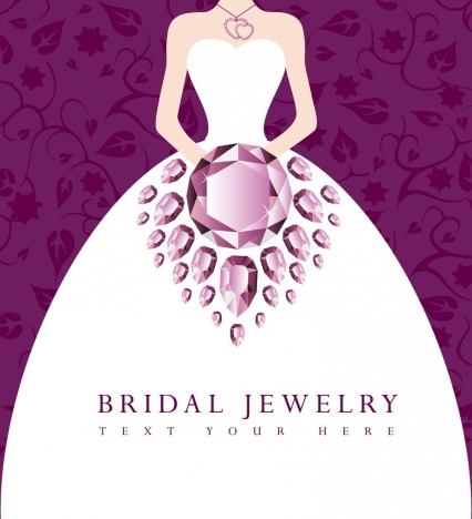 bridal jewelry advertisement violet gemstone ornament bride icon