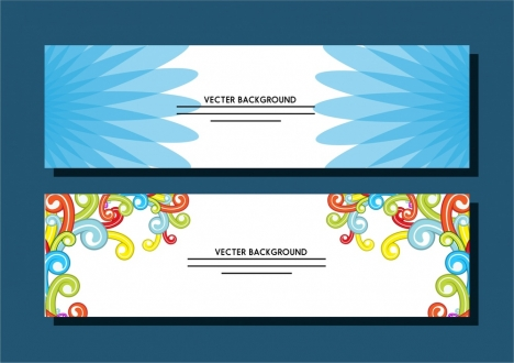 bright banner templates colorful abstract flat style
