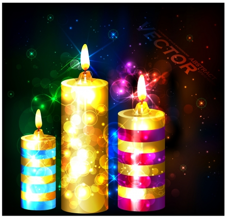 bright candles on bokeh dark background illustration