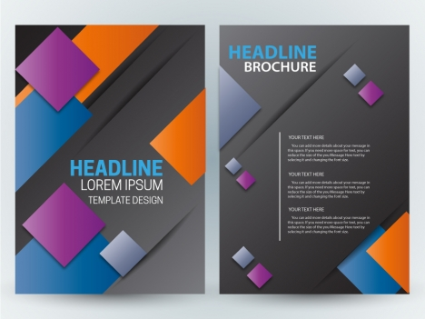 brochure design with colorful squares and dark background