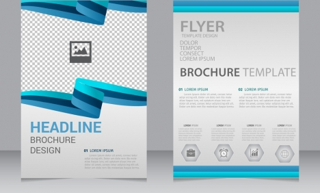 Brochure Flyer Template 3d Curves Blue Lines Ornament Vectors Stock