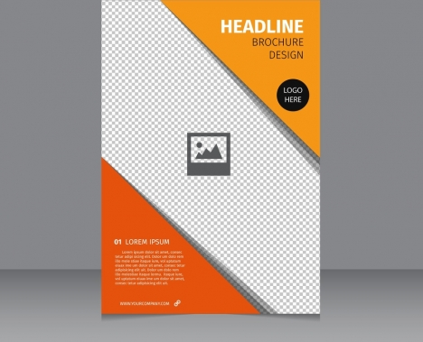 brochure temlate orange triangles checkered background