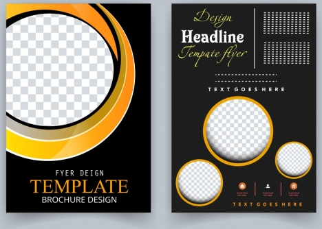 brochure template dark black checkered circles ornament