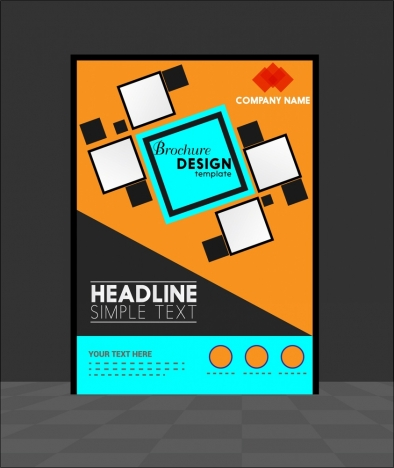 Brochure Template Design Geometric Style Vectors Stock In Format For
