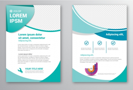 brochure template design with checkered curves illustration