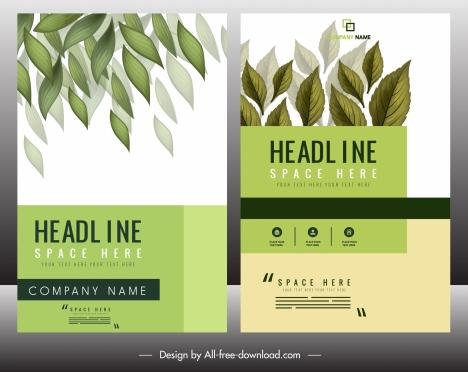 brochure templates natural leaves decor