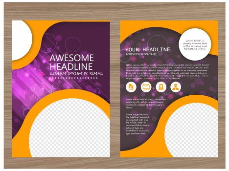 brochure vector design with bokeh violet background