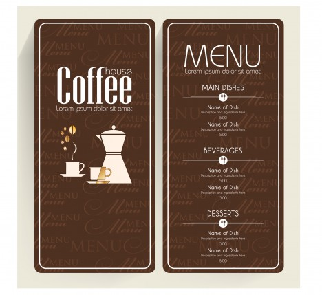 brown background coffee menu