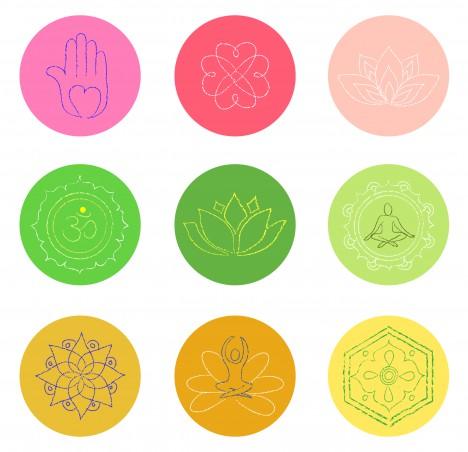 buddhism symbol set