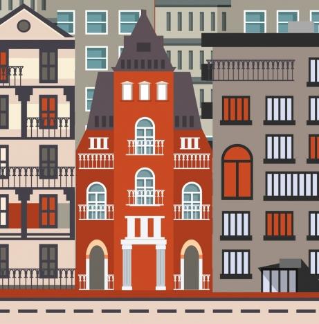 buildings facade background classical flat design