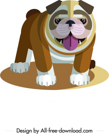 bulldog icon cute colored cartoon sketch