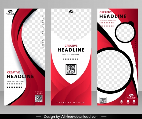 business banner templates modern red white curves circles