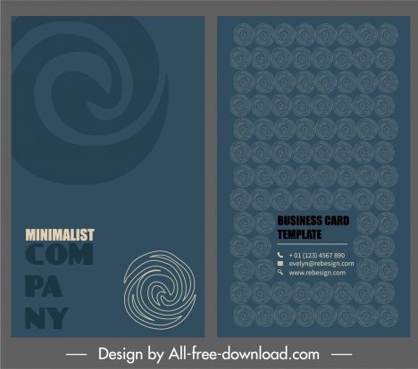 Business Card Template Abstract Twist Shapes Sketch Vectors