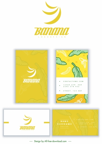 Business Card Template Banana Theme Sketch Classical Design