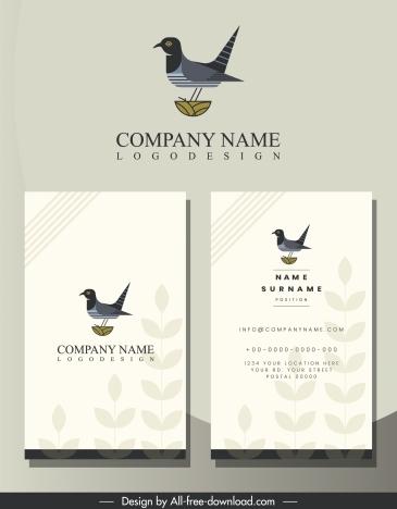 business card template bird logo blurred leaves decor